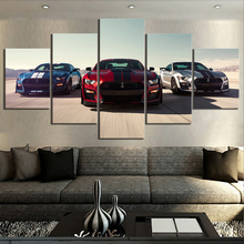 5 Piece HD Luxury Cars Pictures Print Ford Mustang Shelby Gt500 Poster Canvas Art Decorative Paintings for Home Decor Wall Art printio ford mustang shelby gt500 eleanor 1967