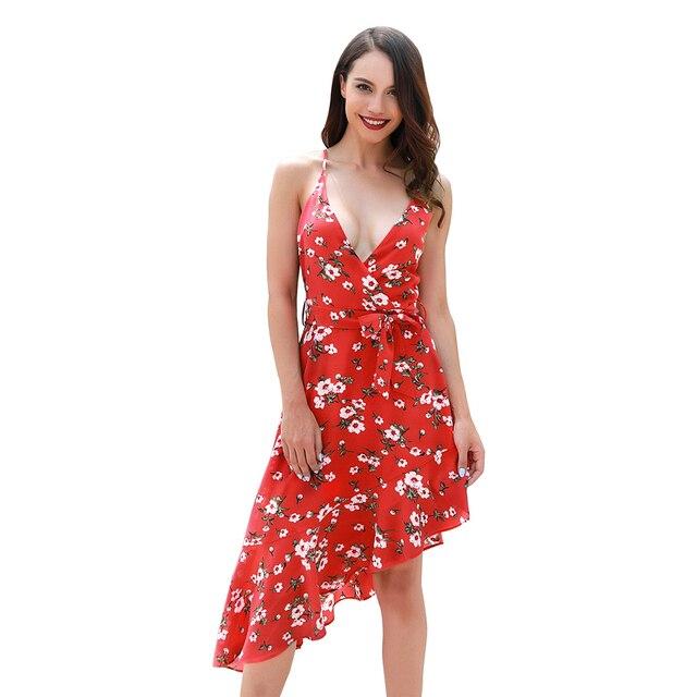 303b8e836 Kenancy Sexy Cuello V sin mangas de las mujeres Irregular vestido Casual  Bohemia playa vestido Boho Feminino Vestidos traje