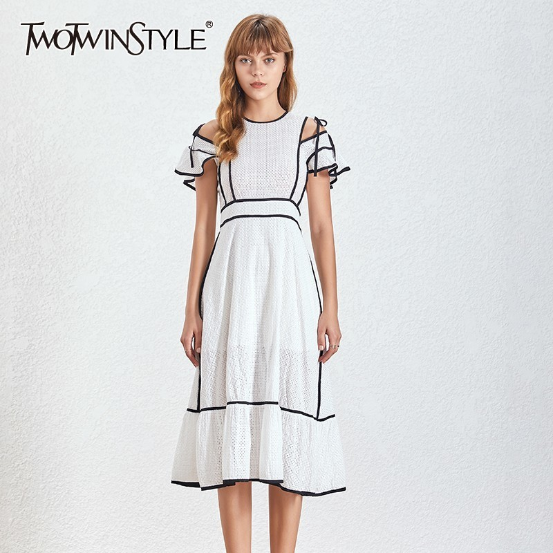 TWOTWINSTYLE Elegant Hollow Out Dress For Women O Neck Short Sleeve High Waist Bandage Midi Dresses