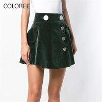 Autumn Winter Women's High Waist Velvet Skirt 2019 Vintage Buttons A line Mini Skirts Womens Black/Army Green