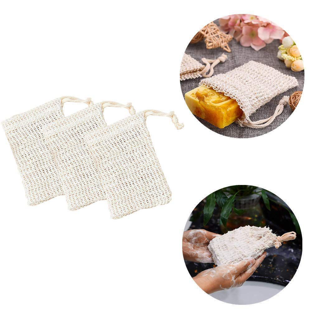 Liquid Soap Dispensers 6 Pcs Natural Exfoliating Soap Bags Handmade Sisal Soap Bags Natural Sisal Soap Saver Pouch Holder Bath Soap Holder Bags