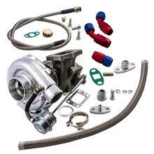 Turbo Turbocharger & Oil Line Kit fit Nissan Safari Patrol 4.2L TD42 GQ GU Y60 T3T4 T04E T3 T4 .50 .63 AR Universal