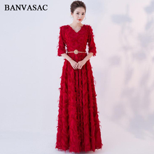 BANVASAC Elegant V Neck Feathers A Line Long Evening Dresses Party Crystal Sash Three Quarter Sleeve Prom Gowns