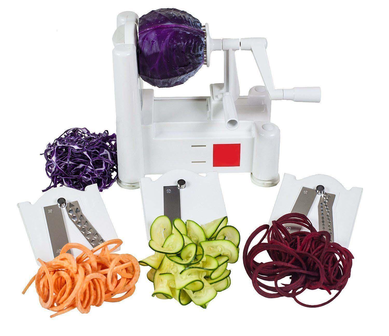World Cuisine Spiralizer Tri Blade Vegetable Easy Spiral Slicer Veggie Cutter Large Vegetable Fruit Slicers Shredders