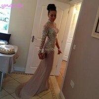 YNQNFS P62 сексуальное платье на одно плечо с длинным рукавом телесного и розового цвета платье из лайкры вечерние Хрустальная Русалочка платье