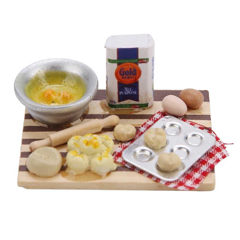 Children Pretend Play House Toy Dollhouse Accessories Miniature Food Bread Cooking Board for 1/12 Scale Doll Gifts for Kids