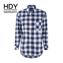 HDY Haoduoyi Asymmetrical Autumn Hem Side Streetwear Slit Loose Plaid Shirt New Arrival Women Regular asymmetrical hem beaded blouse