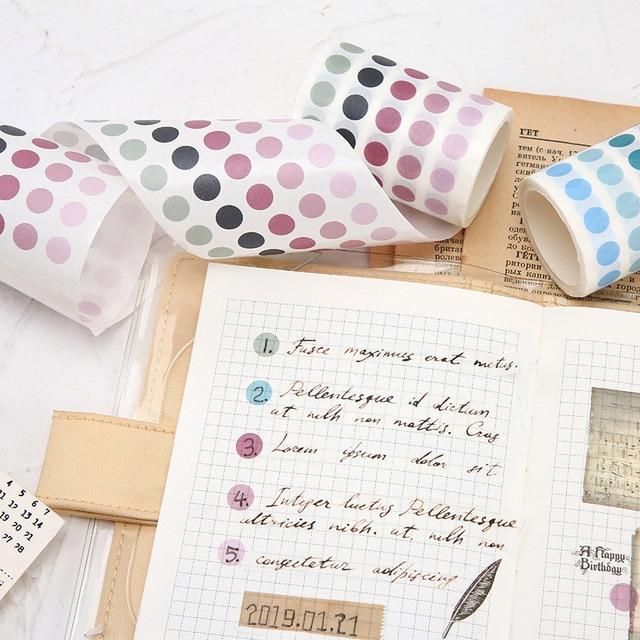 Cute List Journal Washi Tape Set Kawaii Gradient Dot Masking Tapes For Kids DIY Decorative Diary Scrapbooking Photo Ablums 2