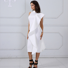 White celebrity party dress new Style Summer Women  Dress Sexy Sleeveless Patchwork Celebrity ruffle bandage