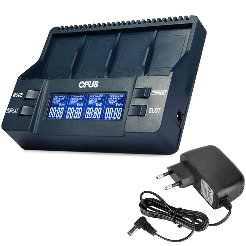 US Adapter Opus BT-C900 Digital 4 Slots 9V Li-ion NiCd NiMh Batteries Charger