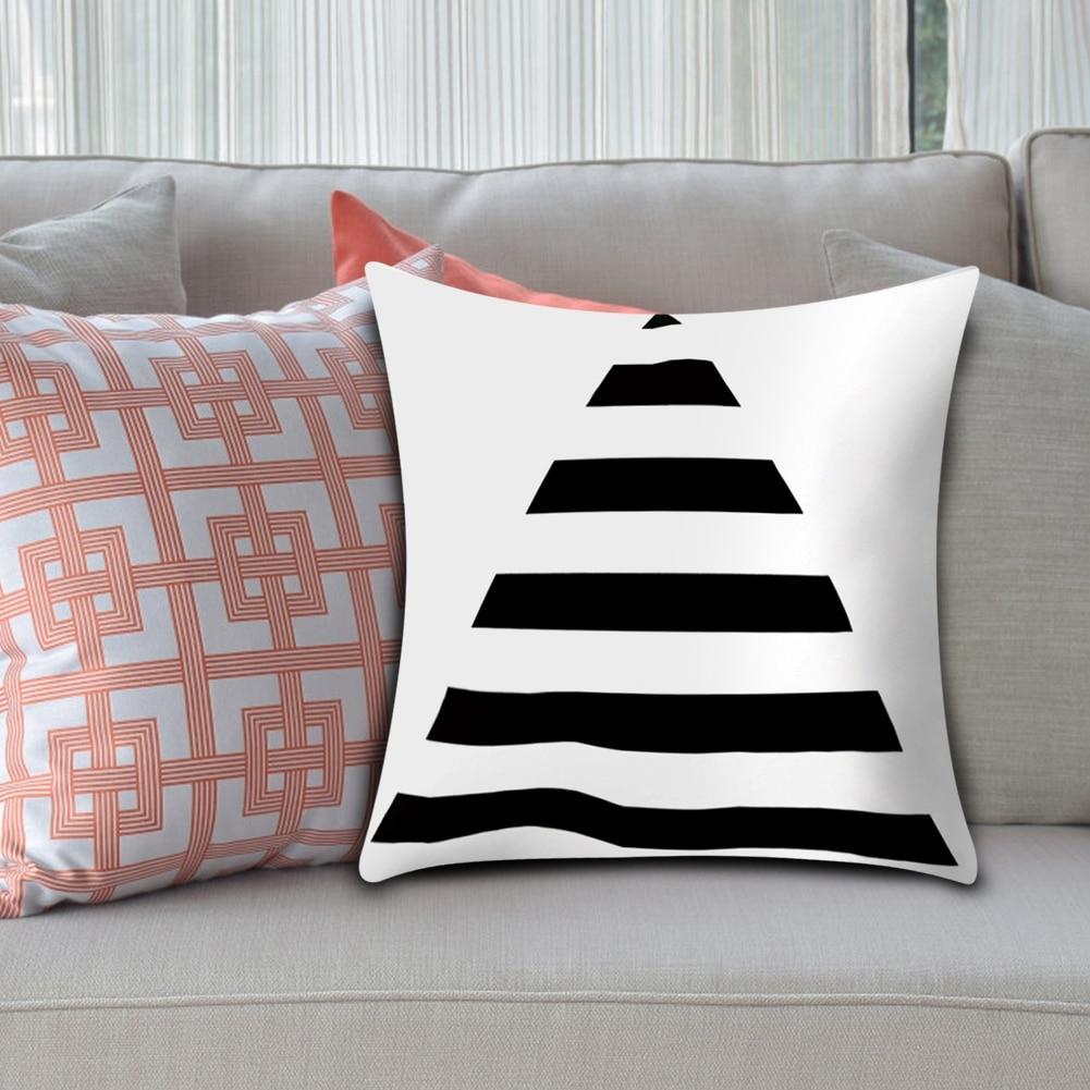 100% Kwaliteit Zwart Wit Kleur Geometrische Streep Cover 45x45 Cm Sofa Stoel Kussensloop Thuis Auto Decor Kussensloop