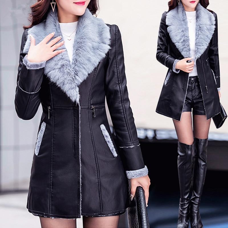 Col Vêtements Cuir De La Outwear Mode Dames Manteau 2018 Veste Grand D'hiver Fourrure Chaud Pu Faux Nouveau Plus Taille Épais Black 8tnwxHqz