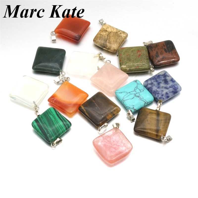 Sortido quadrado natural pedra de quartzo pingente rosa tigre olho opala gota encantos jóias caber diy colar brincos fazendo