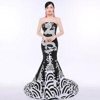 e18ea433f2c80f Mermaid Oriental Style Evening Dresses Long Chinese Dress For Women Black  Qipao Dragon Clothing Cheongsam Design
