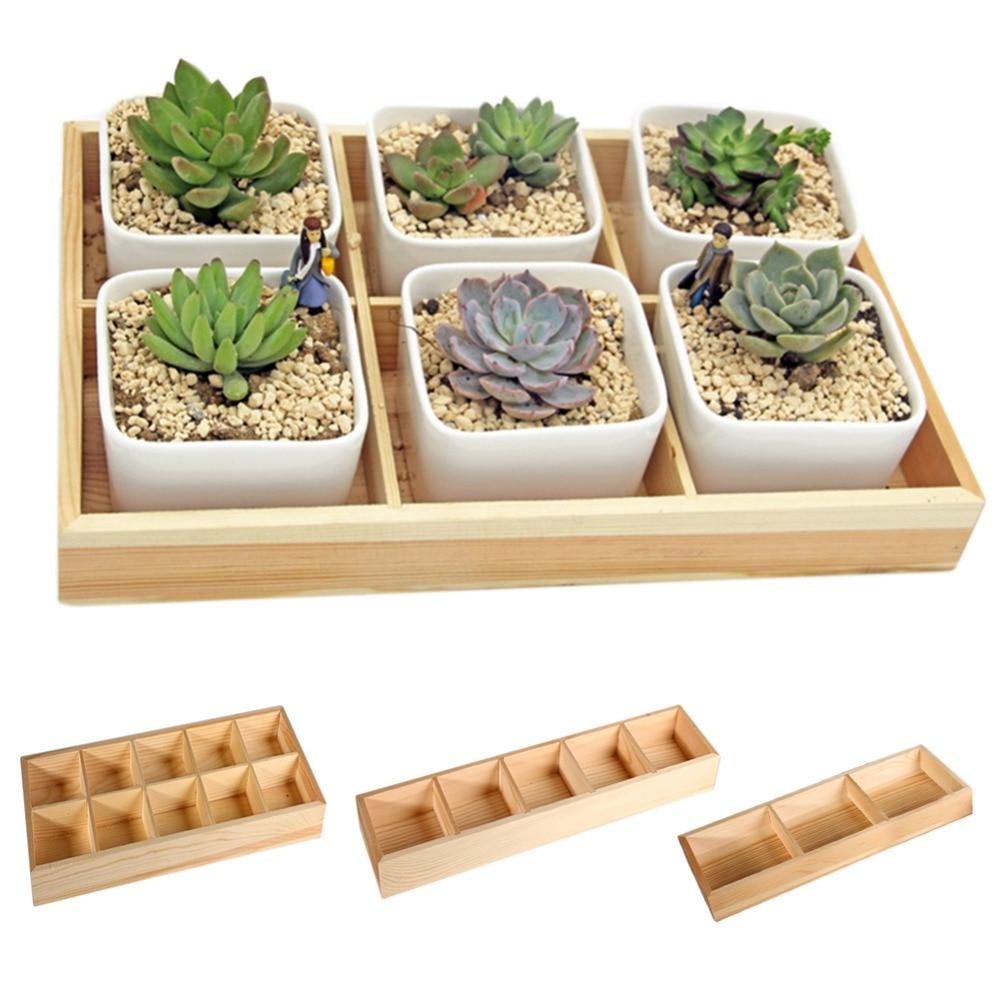 Fleshy Flower Iron Ceramics Flowerpot Wooden Box Succulent Plant Flower Pot Rack Planter Bonsai Pot