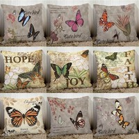 Europe style Retro butterfly couch cushion cover 45x45cm home decorative pillows polyester sofa pillowcase seat back cushions