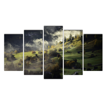 HD 5 Piece Canvas Grasslands Alps Fog Village Painting Posters And Prints Canvas Painting for Living Room Free Free Shipping