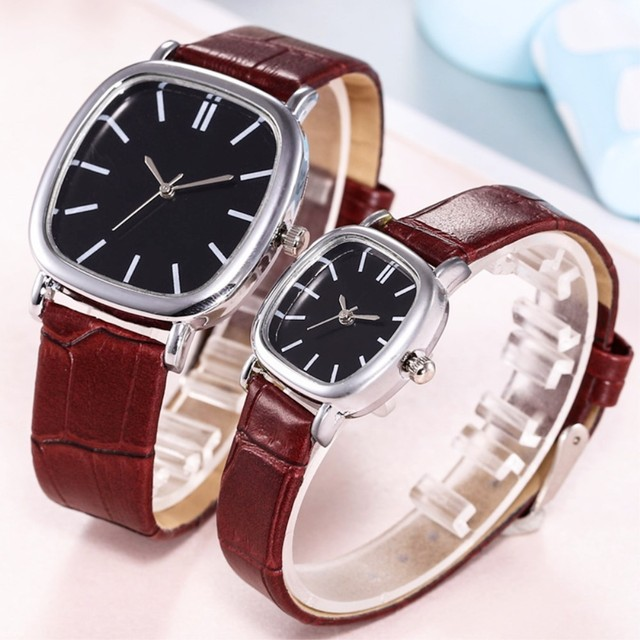 Fashion Black Watches Women Men Lovers Watch Couple Leather Quartz Wristwatch Fe