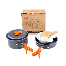 Hewolf 6 Buah/Set 1-2 Orang Aluminmum Portable Outdoor Camping Hiking Cookware Backpacking Memasak Piknik Mangkuk Pot Pan Kit(China)