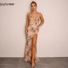 Joyfunear Goud Zwarte Lange Sequin Avondfeest Jurk Backless V-hals Goedkope Avondjurken Mouwloze Prom Party Formele Jurken(China)