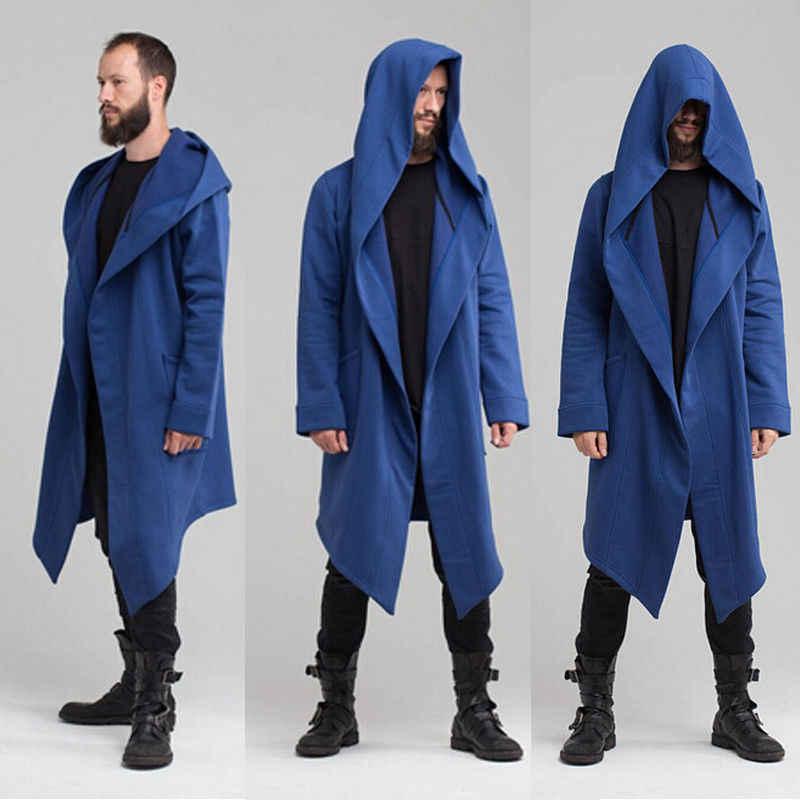 유니섹스 겨울 자켓 후드 망토의 긴 섹션 케이프 카디건 까마귀 자켓 여성 남성 블랙 코트 manteau femme hiver