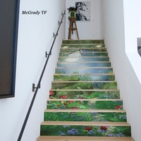 13pcs/set Forest 3D Stair Stickers Waterproof Removable Self adhesive Wall Floor Decals Stickers Home Decor Decorative Sticker