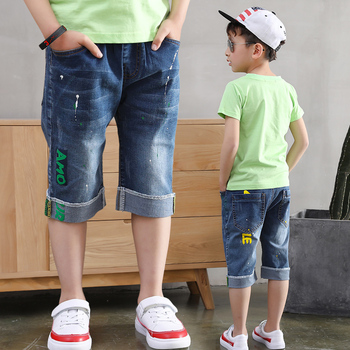 Teenager Kids Boys Denim Shorts 4Y-16Y Summer Letter Printed Children Boys Casual Pants Soft Cotton Jeans Short Straight Pants 1