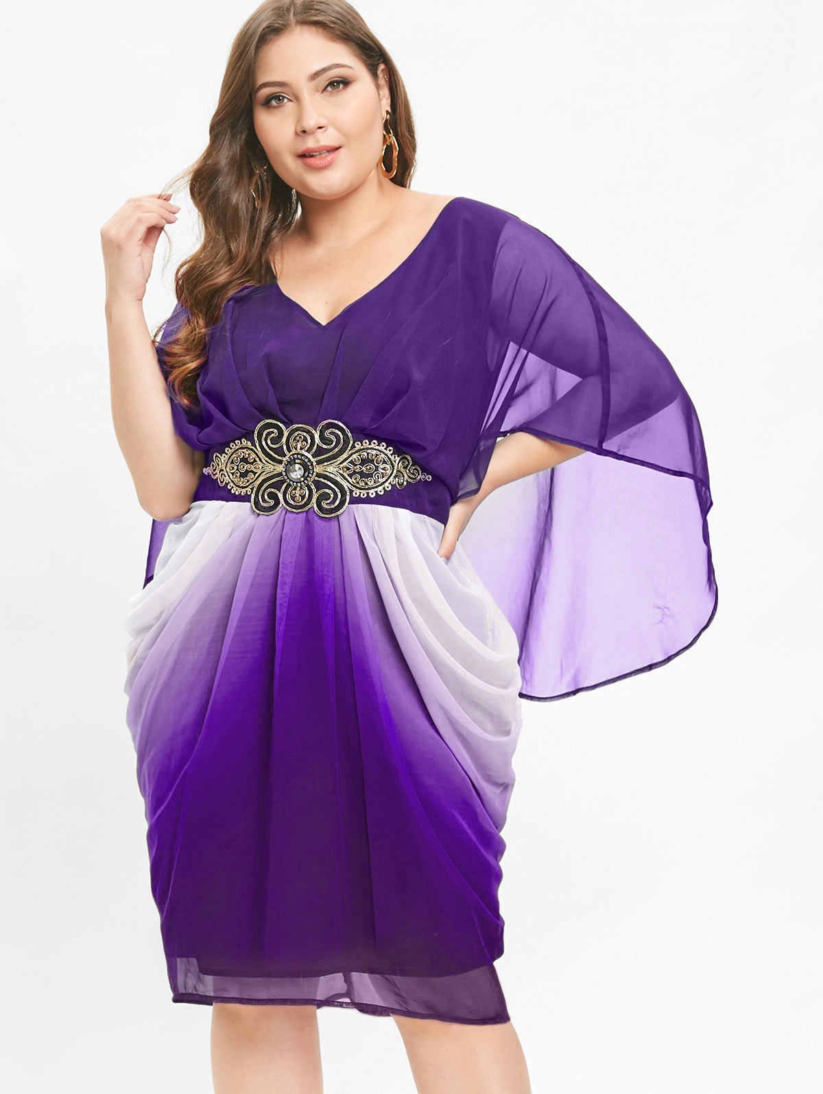 Wipalo/большие размеры 5XL, украшенное поясом, v-образный вырез, длина до колена, платье 3/4, длина рукава, градиент, элегантное шифоновое платье, вечерние платья