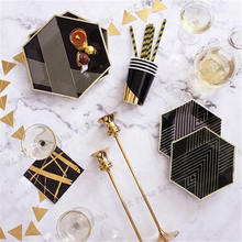 Black Gold Blocking Disposable Tableware Party Paper Plates Napkins Cups Birthday Party Decorations Kids Wedding Christmas celebrate party gold foil disposable tableware set paper plates cups napkins straws adult birthday party decor wedding party sup