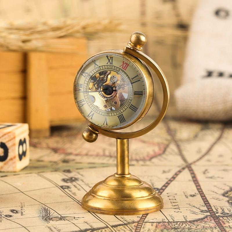 Retro Kupfer Spinning Globus Gold Schreibtisch Mechanische Taschenuhr Handaufzug Bewegung Hause Büro Luxus Dekoration Als Sammeln Uhren