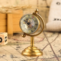 Retro Copper Spinning Globe Gold Desk Mechanical Pocket Watch Hand Winding Movement Home Office Luxury Decoration as Collectible