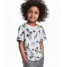 2019 new Kids gray clothes baby boys Tops children clothing short-sleeved T-shirt animal print boy girl round neck casual Tees