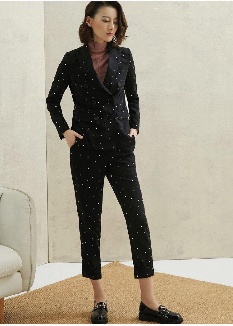 PIXY Black Polka Dot Pant Suit Womens Suits Set 2 Pieces Blazer Woman Pantsuit Business Elegant Office Ladies Smoking Clothes