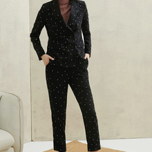 PIXY Black Polka Dot Pant Suit Womens Suits Set