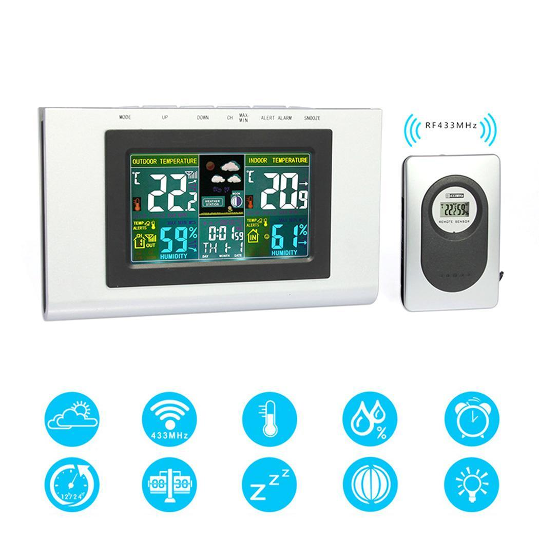 Battery black Hygrometer Silver Digital Clock Home Thermometer Multi function Office Electronic LCD Square