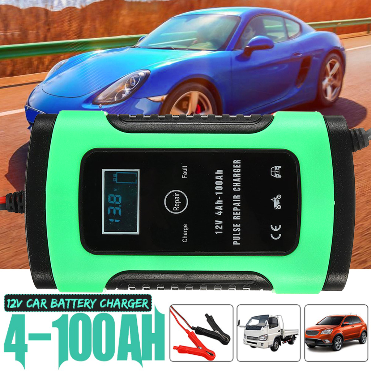 New 12V 5A 4-100Ah Auto Car Intelligent Battery Charger Jump Starter LCD Intelligent 100-240V Pulse Repair Type