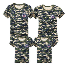 Family T Shirts 2016 Summer Matching Clothes Patchwork Army Look T-shirt Tees For Mother Daughter Father Son Kids