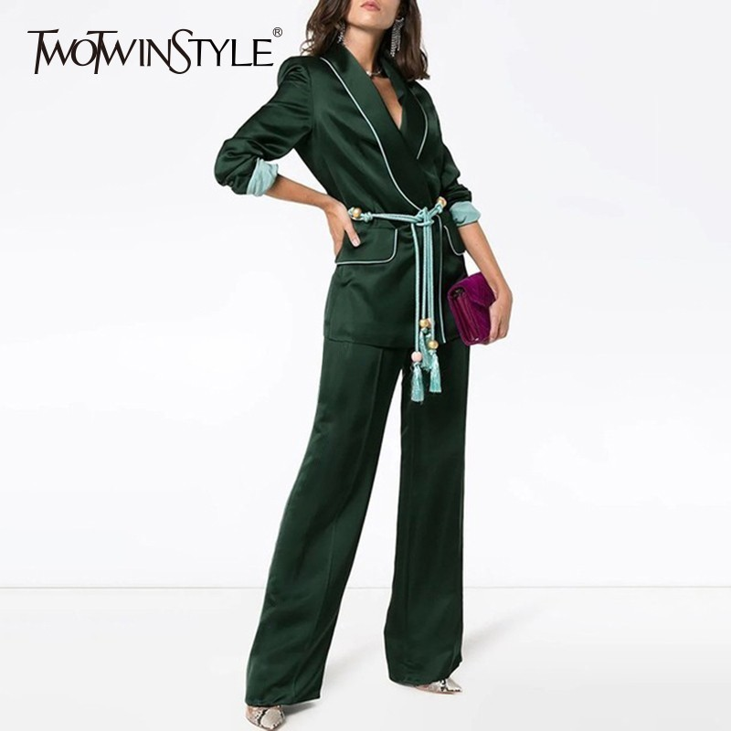 Twotwinstyle 두 조각 세트 여성 긴 소매 레이스 업 블레 이저 코트 높은 허리 긴 와이드 레그 바지 여성 패션 2019 가을-에서여성 세트부터 여성 의류 의  그룹 1