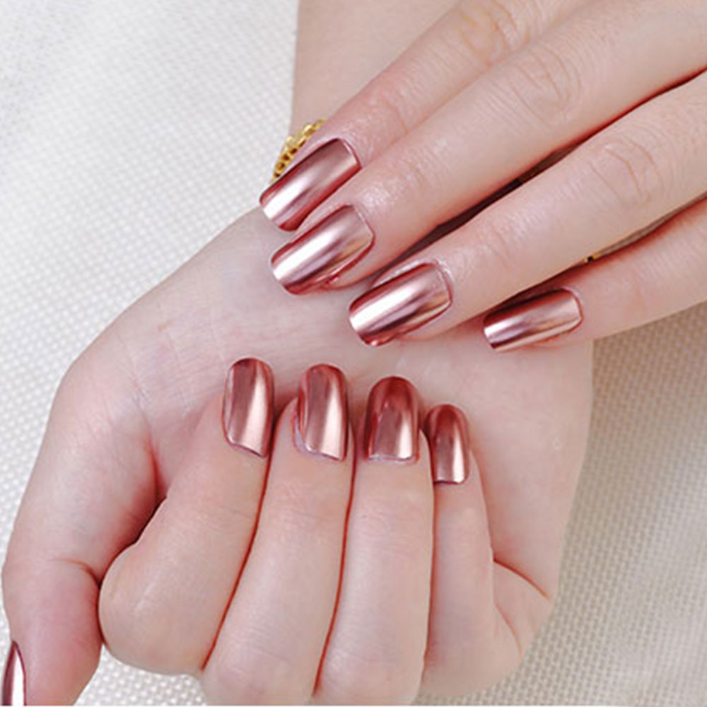 18ml Mirror Effect Metallic Nail Polish Purple Rose Gold Silver Chrome Nail Art Varnish For Nails Manicure Lacquer in Nail Gel from Beauty Health