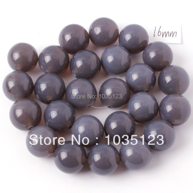 Free Shipping 16mm Round Shape Natural Gray Agates Gems Loose Beads Strand 15 DIY Creative Jewellery Making w265