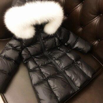 Children winter down jacket girls slender long down winter clothing thick natural large fur collar