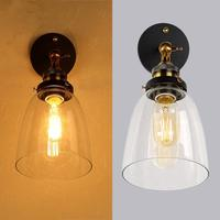 110V 220V Amber Loft Vintage Industrial Edison Wall Lamps Clear Glass Lampshade Antique Copper Wall Lights For Bedroom