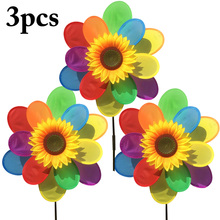 3PCS Double-Layer Fabric Colorful Sun Flower Windmill Children'S Toys Sunflower Wind Mill Wind Spinner Party Decoration Supplies цена 2017