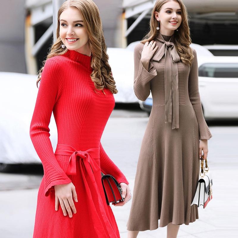 Femmes col roulé tricoté Robe Sexy Slim solide Flare manches robes automne hiver dames parti Club moulante Robe robes élégantes