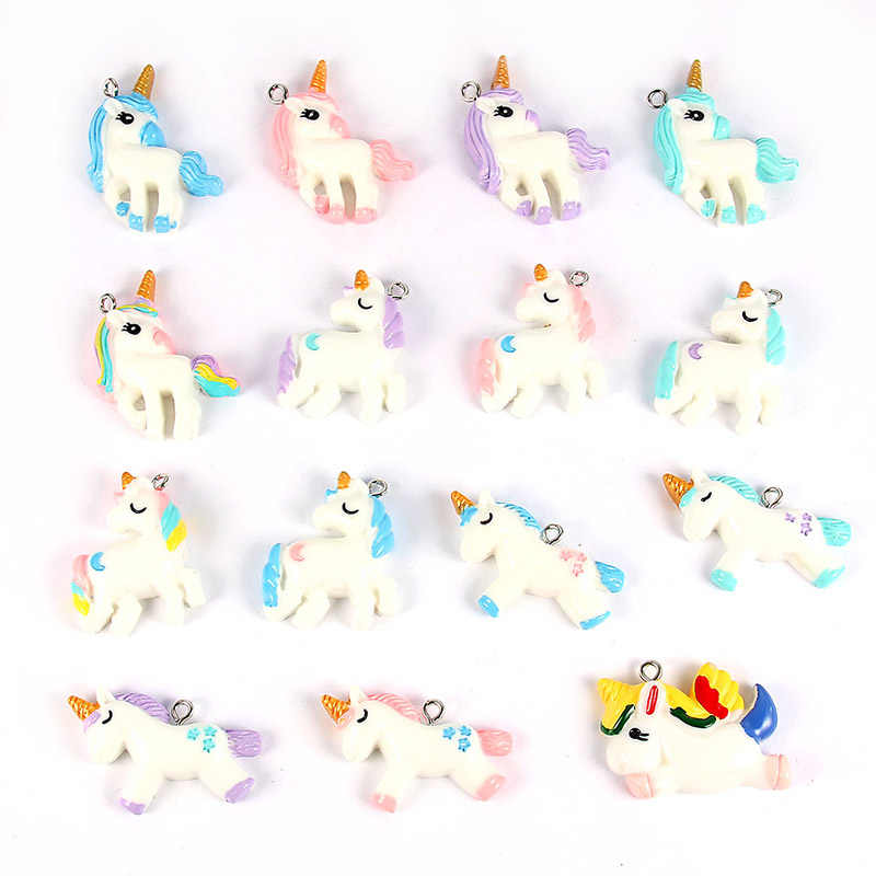 15 Piece Multi-Color Resin Unicorn Pendant Charm Jewelry Findings For Charms Necklace Bracelet Accessories For Children Jewelry