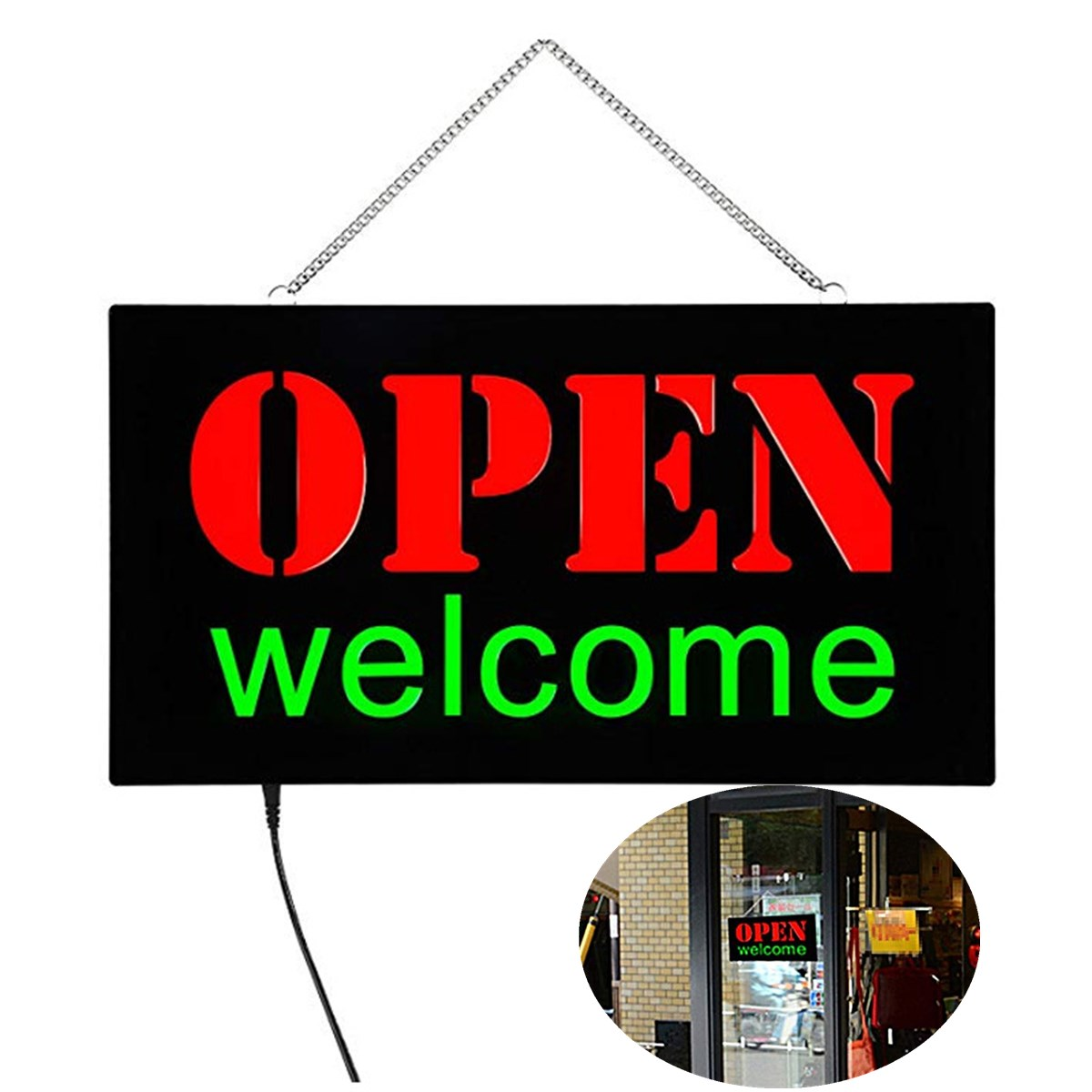 US Plug LED Open Sign Advertising Lights For Cafe Bar Pub Neon Light On Off Switch Restaurant Store Open Sign Lighting