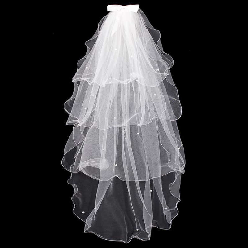 LPTUTTI 膨化弓多層新ショート段落マンティージャ結婚式結婚ヘッドドレスアクセサリー花嫁のウェディングベール櫛で