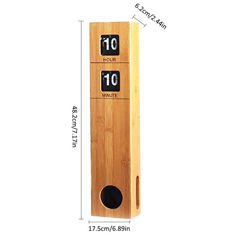 Haute qualité mur Auto Flip Down horloge à piles 19 pouces de hauteur avec bambou bois boîtier moderne rétro décoration