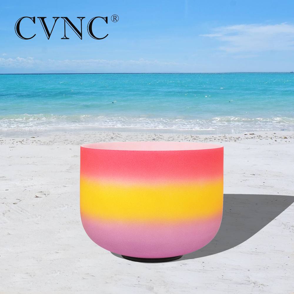 CVNC 8 Note C  Root Chakra Rainbow  Colored Frosted Quartz Crystal Singing Bowl CVNC 8 Note C  Root Chakra Rainbow  Colored Frosted Quartz Crystal Singing Bowl