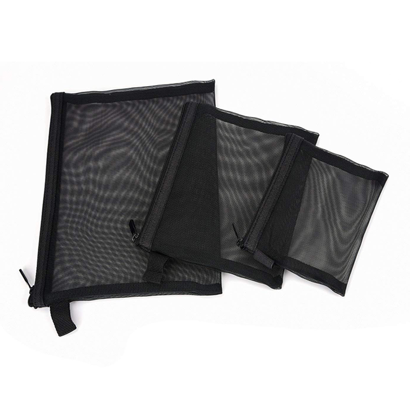 Zipper Mesh <font><b>Bags</b></font>, Pack of <font><b>3</b></font> (S/M/L), Beauty Makeup <font><b>Cosmetic</b></font> Accessories Organizer, <font><b>Travel</b></font> Toiletry Kit <font><b>Set</b></font> Storage Pouch, Blac image